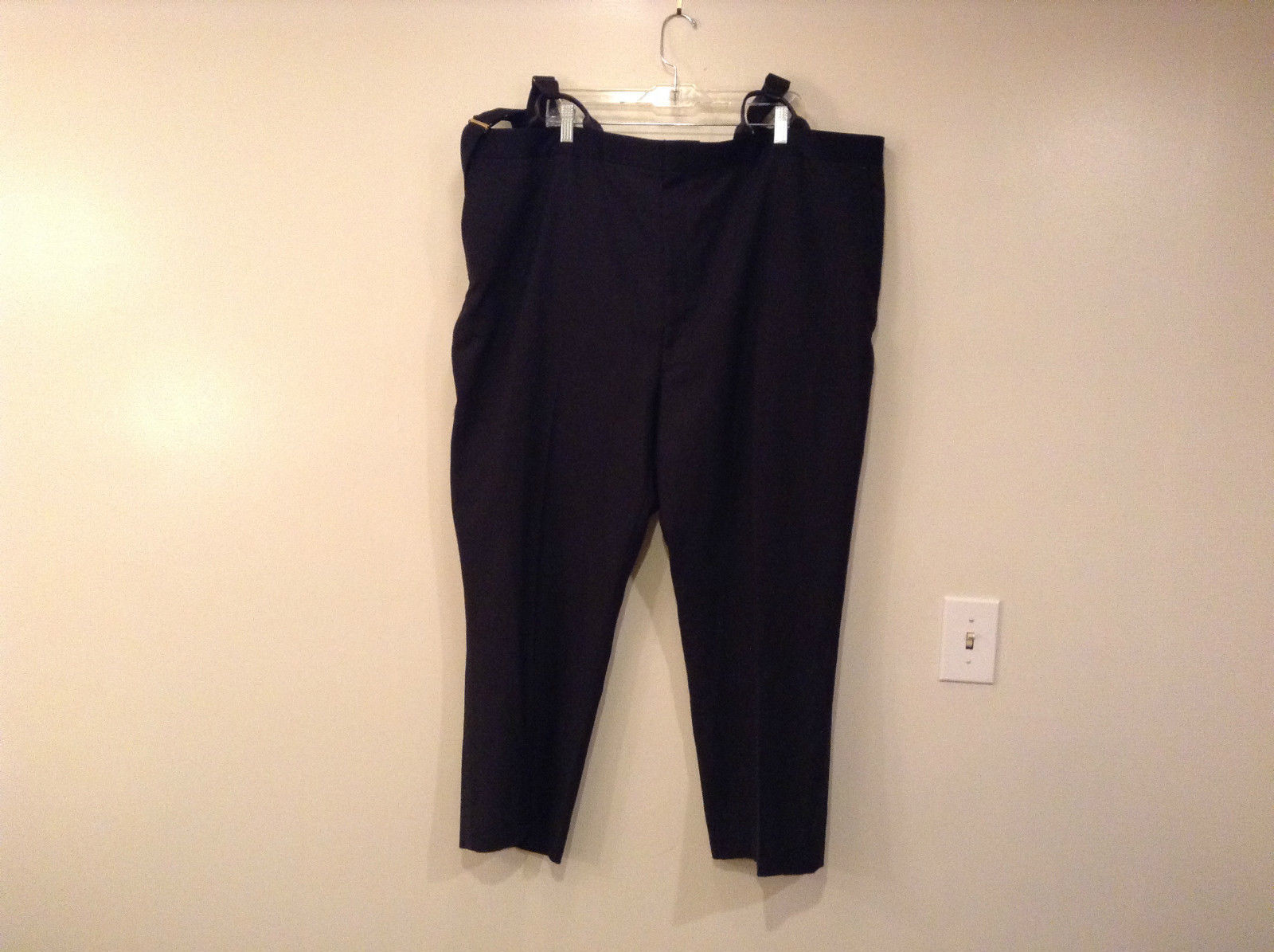 Black Pleated Front Dress Pants with Suspenders No Size Tag Measurements Below