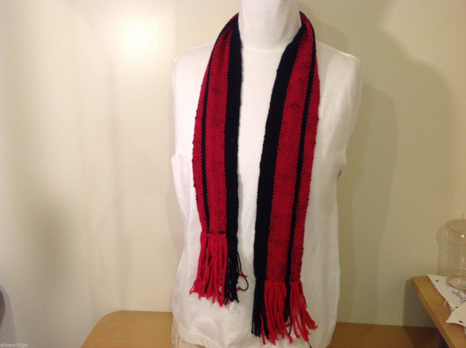 Black Red Striped Woven Pattern Scarf with Long Fringes