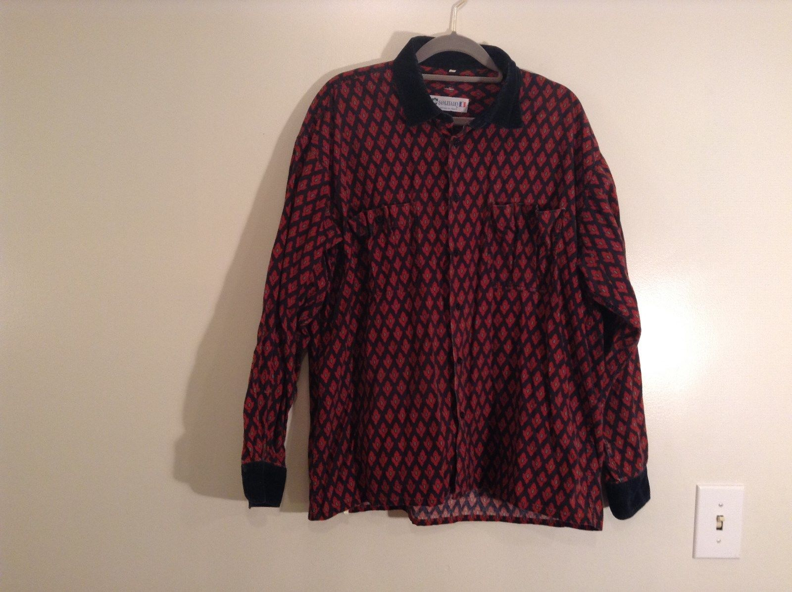Black Red Pattern Souleiado Button Up Shirt Size 5 European Made in France