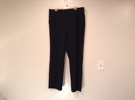 Black Pleated Front Dress Pants Stripes Down Sides  No Tags Measurements Below