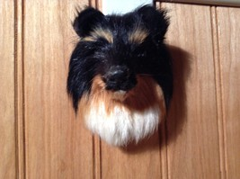 Black Red White Sheltie Head Magnet Recycled Rabbit Fur by Lifes Attractions
