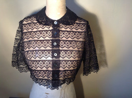 Black See Through Belly Shirt Button Up Front Three Quarter Length Sleeves