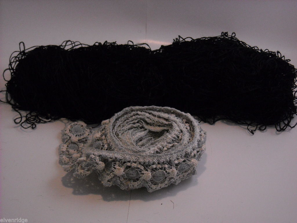 Black Silk Embroidery Thread and Blue and White Lace Sewing Trim