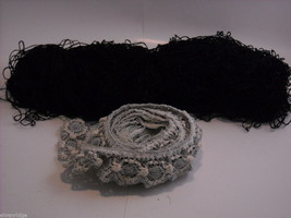 Black Silk Embroidery Thread and Blue and White Lace Sewing Trim image 1