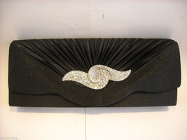 Black Satin Clutch Purse with Rhinestones
