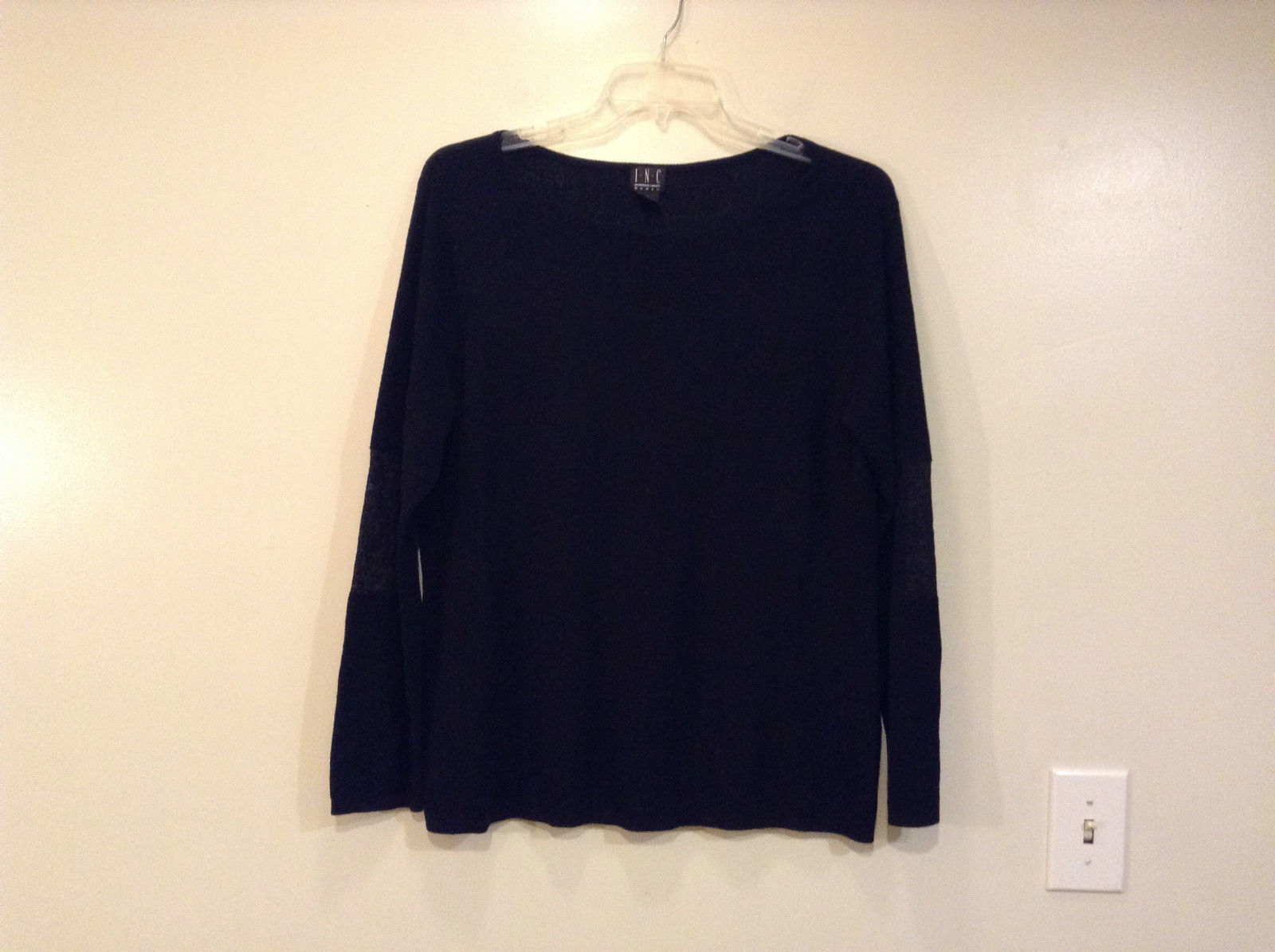Black Scoop Neck Long Sleeve Pullover Top INC International Concepts Size 1X