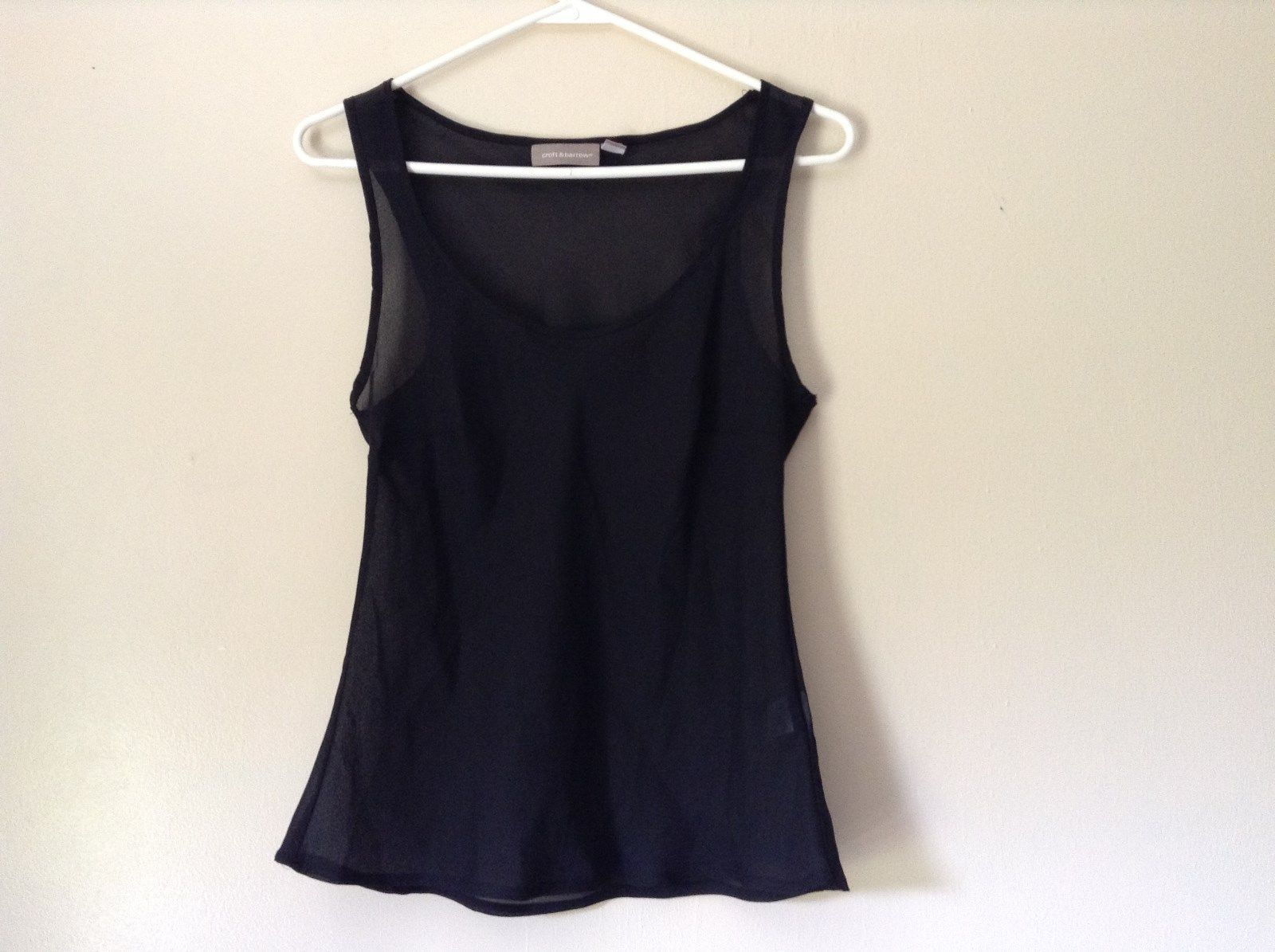 Black See Through Tank Top Size Small 100 Percent Polyester Croft and Barrow