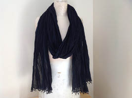 Black Scrunched Beaded Scarf Made in India Indian Style Beads for Tassels