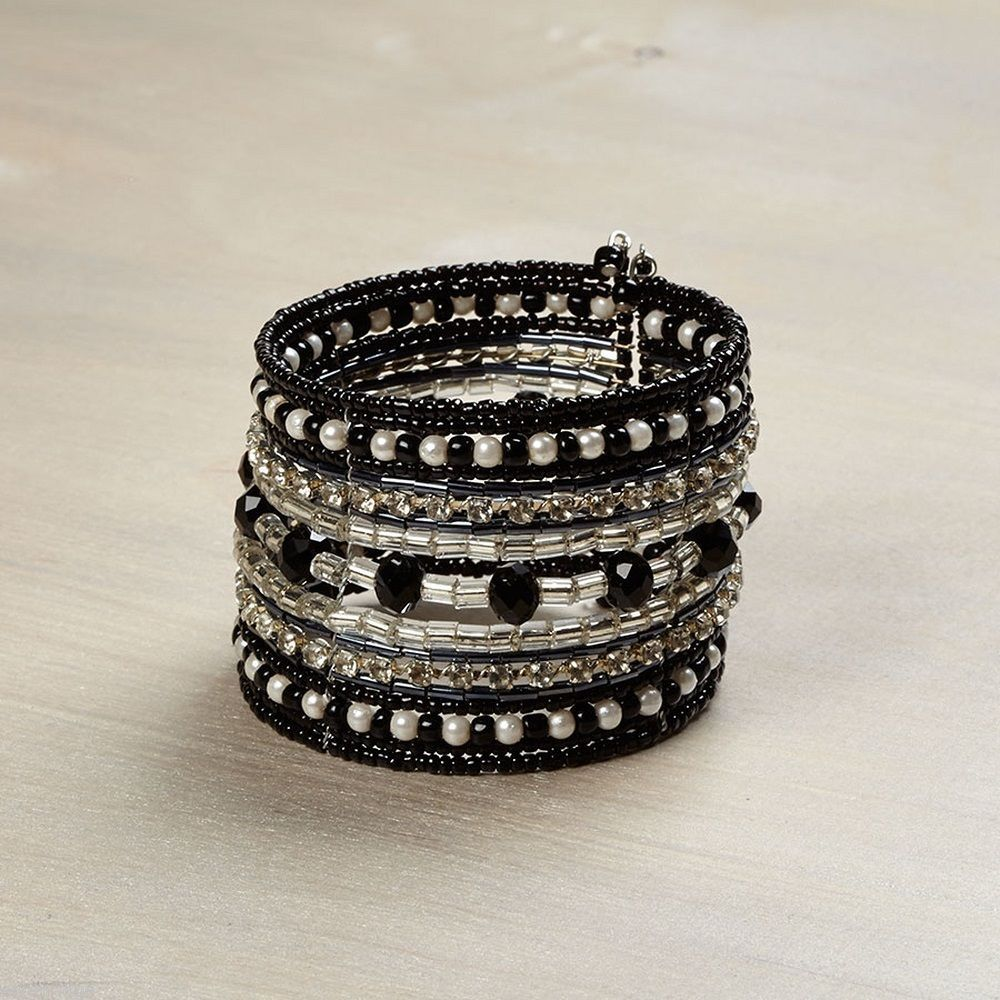 Black Silver White Cuff Bracelet w seed beads and pearls