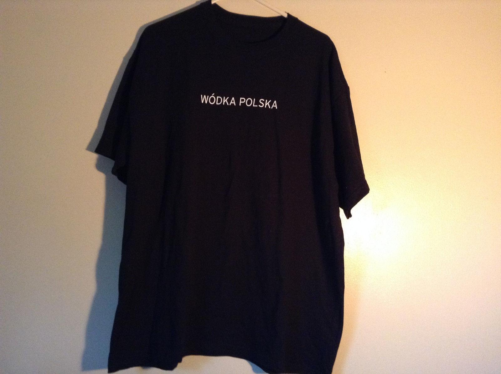 Black Short Sleeve T Shirt Wo dka Polska on Front Sobieski Vodka on Back NO TAG
