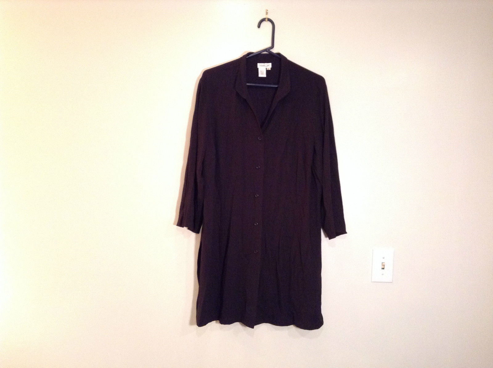 Black Size 1X Coldwater Creek Long Shirt Blouse Slits on Sides and Cuffs