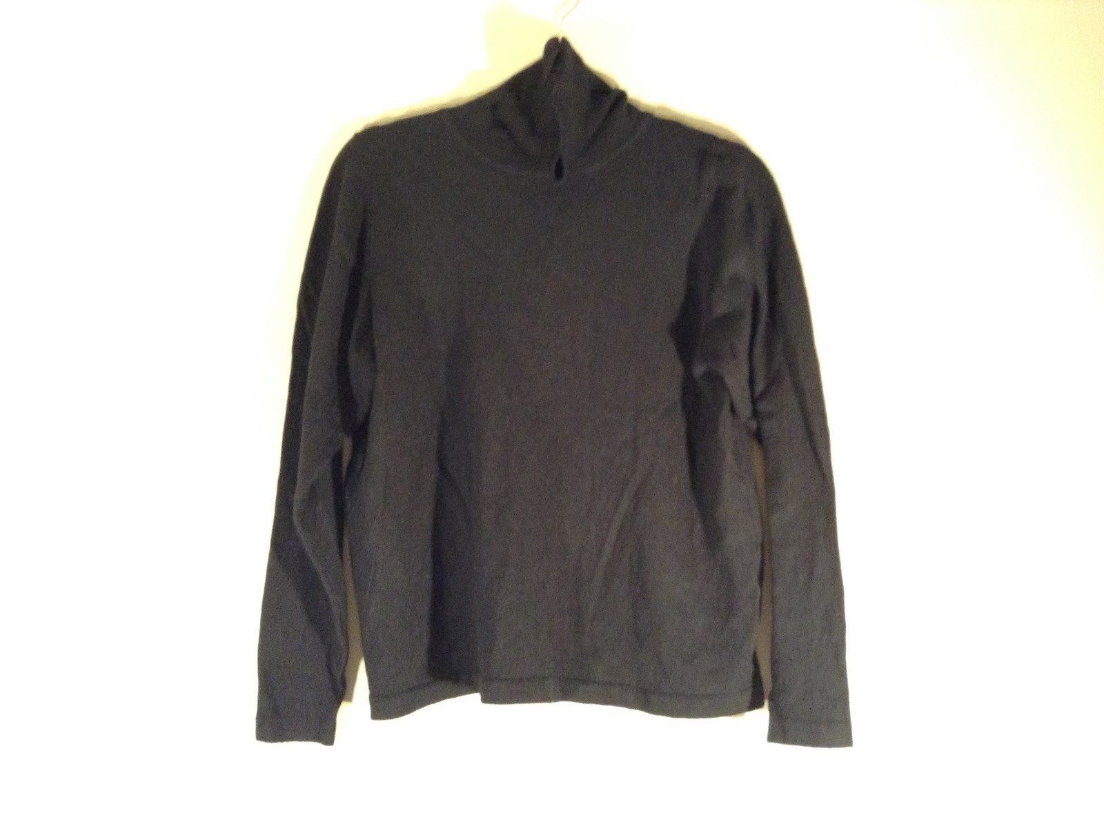 Black Size 5 Long Sleeve Turtleneck Top Wool Silk Blend Made in France