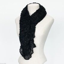 Black Soft Viscose infinity scarf with sparkly silver lurex thread image 1