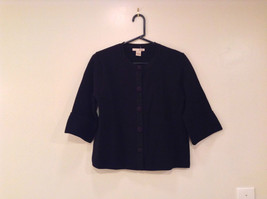 Black Size Large 100 Percent Cotton Button Up Front Short Blazer Top by Evie
