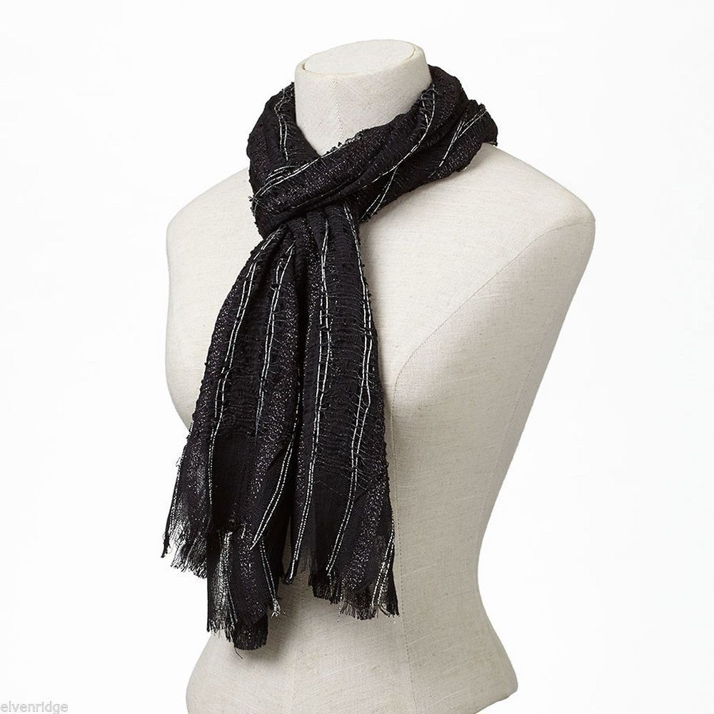Black Soft Viscose scarf with sparkly silver lurex thread