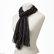 Black Soft Viscose scarf with sparkly silver lurex thread image 1
