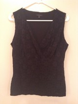 Black Sleeveless Lined Top Size Large Petite Subtle Floral Print