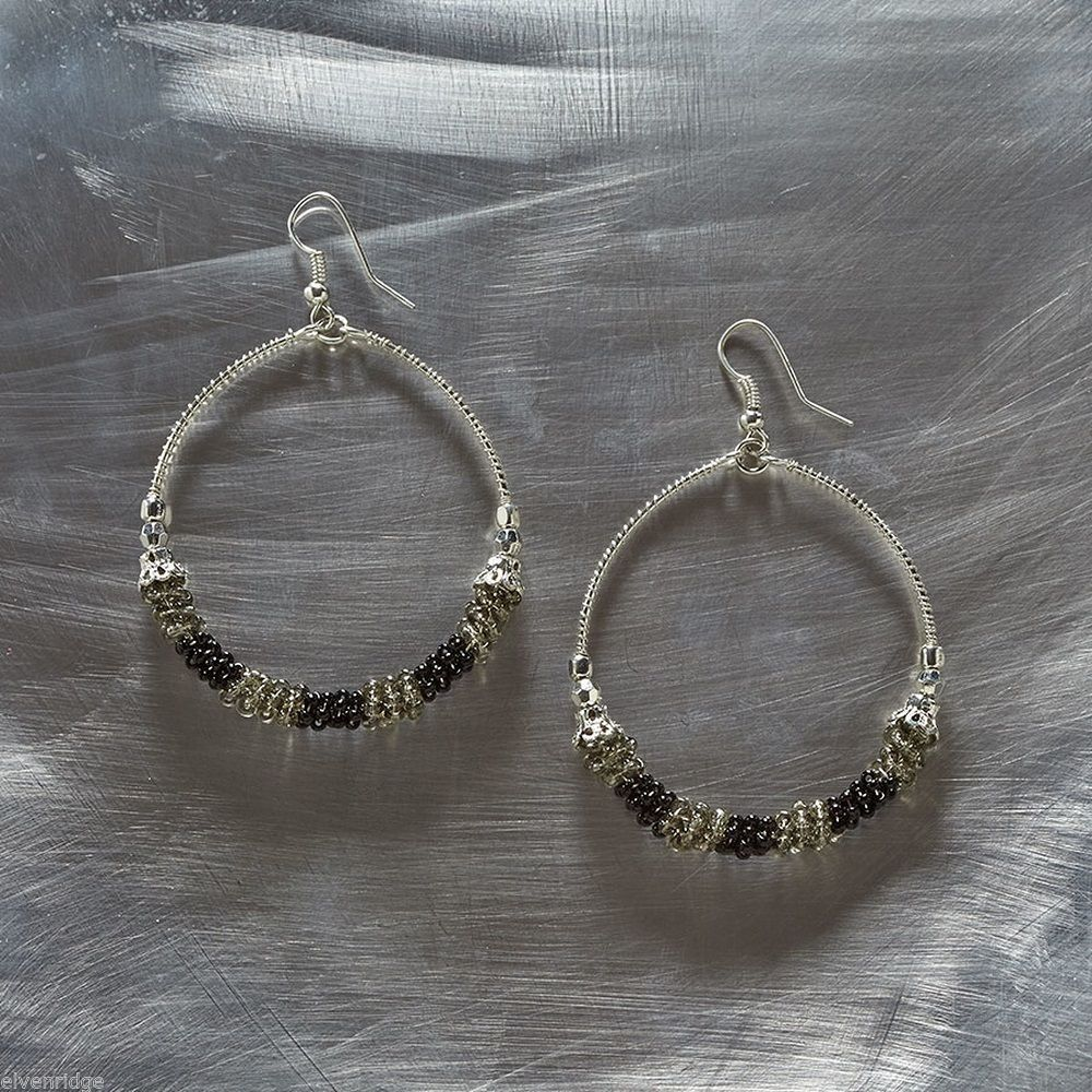 Black Smoke Hoop Wire earrings
