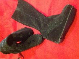 Black Suede leather knee high dress boots size 6 1/2 6.5
