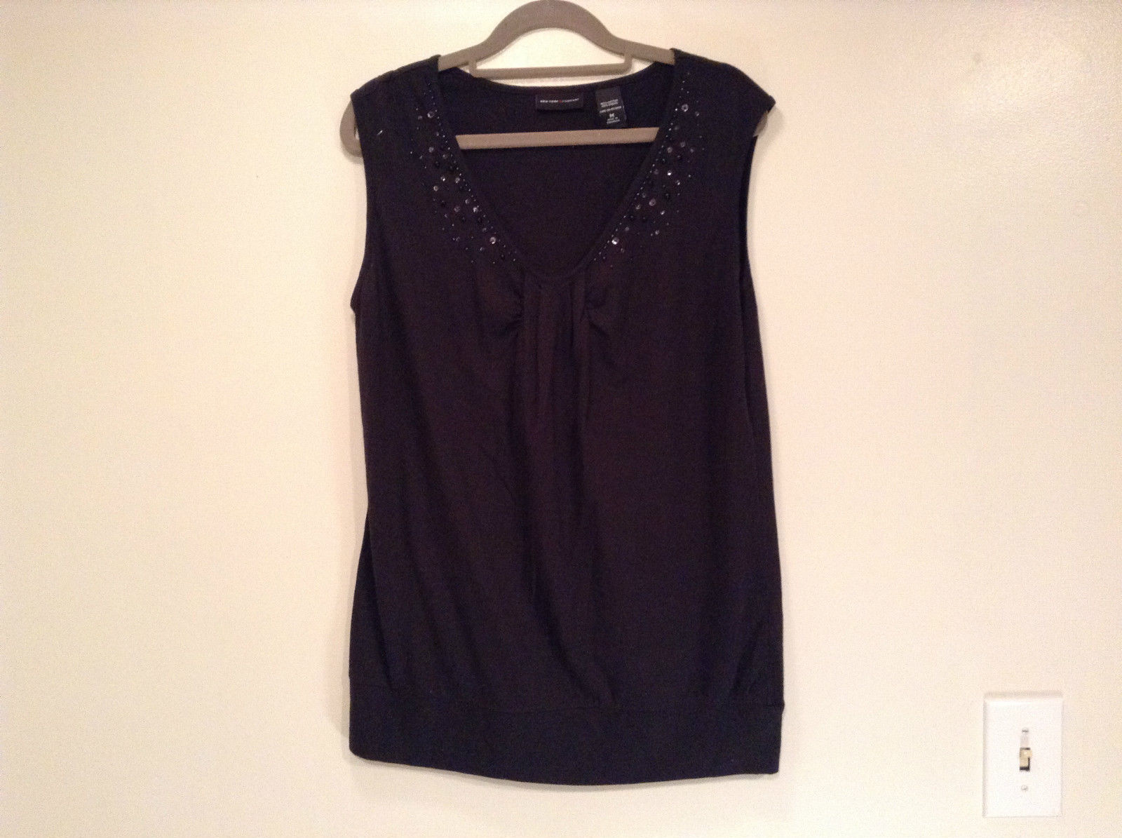 Black Size Medium Sleeveless New York and Company Top Cotton Blend Beads