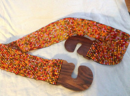 Beaded elastic multicolored belt with wood closure that slips together to close image 6