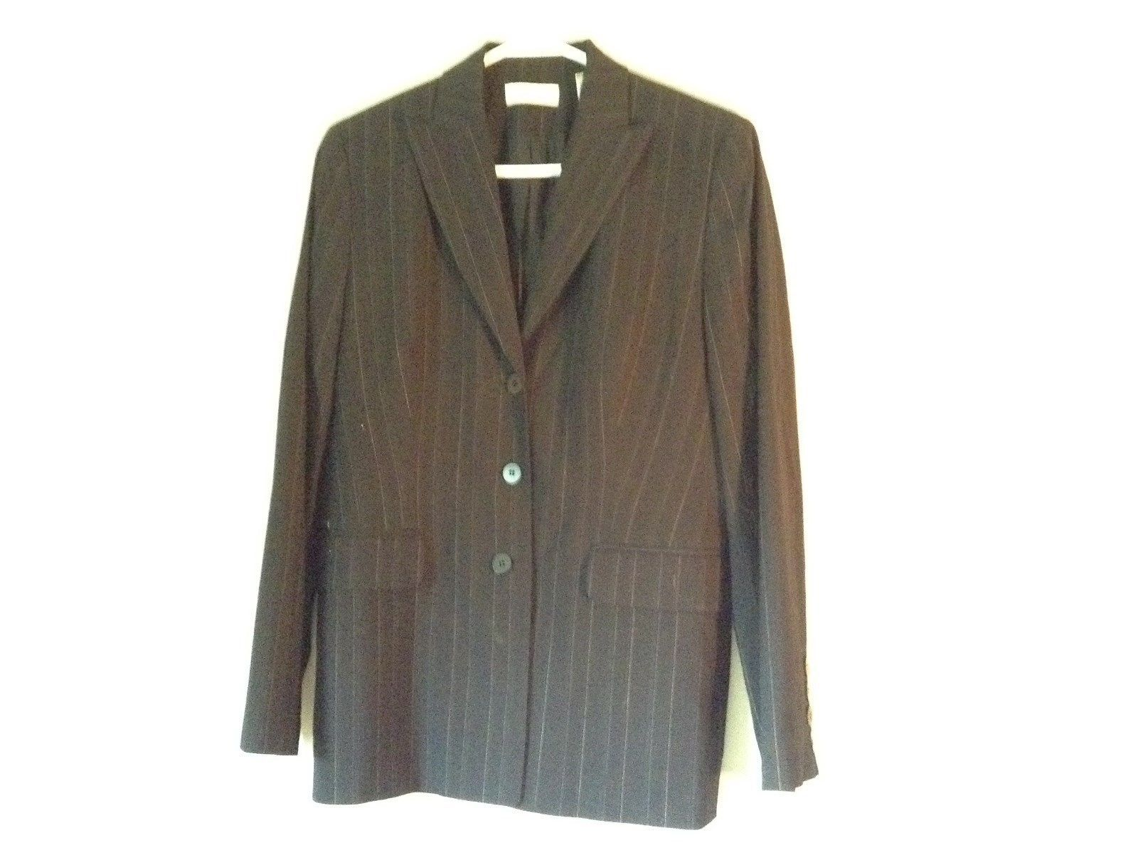 Black Striped Amanda Smith Blazer Shoulder Pads Buttons on Sleeves Size 8