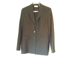 Black Striped Amanda Smith Blazer Shoulder Pads Buttons on Sleeves Size 8 image 1