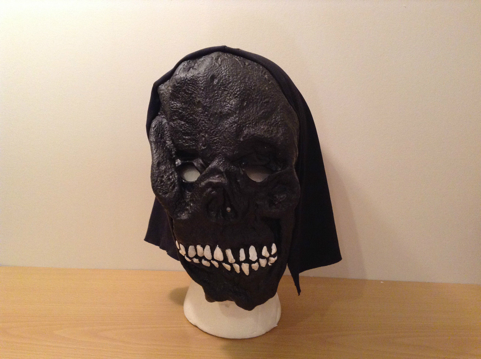 Black Skull Halloween Rubber Polyester Mask One Size