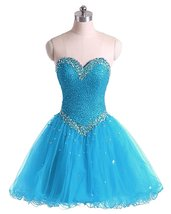Short Blue A-Line Sweetheart Tulle Beading Homecoming Dress,Beaded Prom ... - $122.00