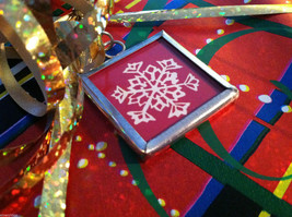 2 sided Joy snowflake Christmas charm in metal frame on red white vintage style image 2