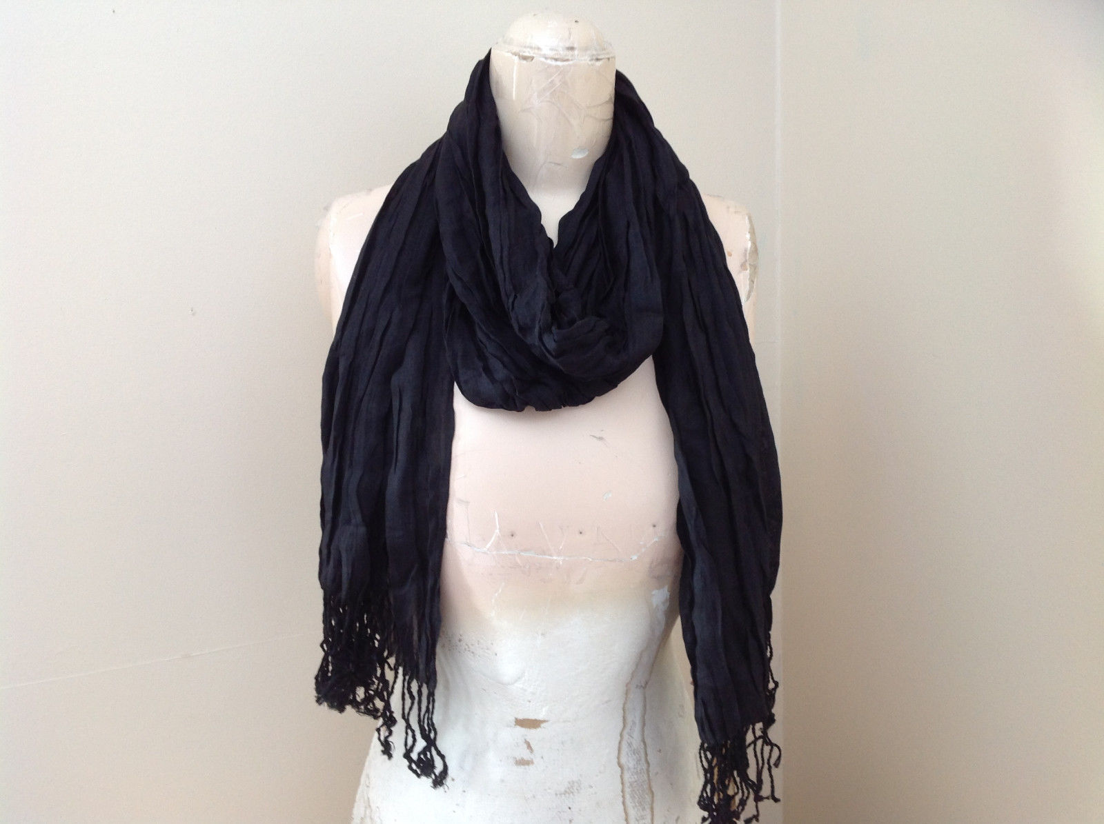 Black Tasseled Scrunched Style Scarf by LOOK Length 65 Inches silk cotton blend