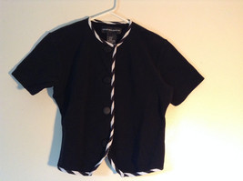 Black Top by Andrea Jovine Button Up Short Sleeves White Accent No Size Tag