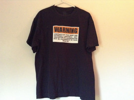 Black Warning Short Sleeve T Shirt 100 Percent Cotton Measurements Below image 1