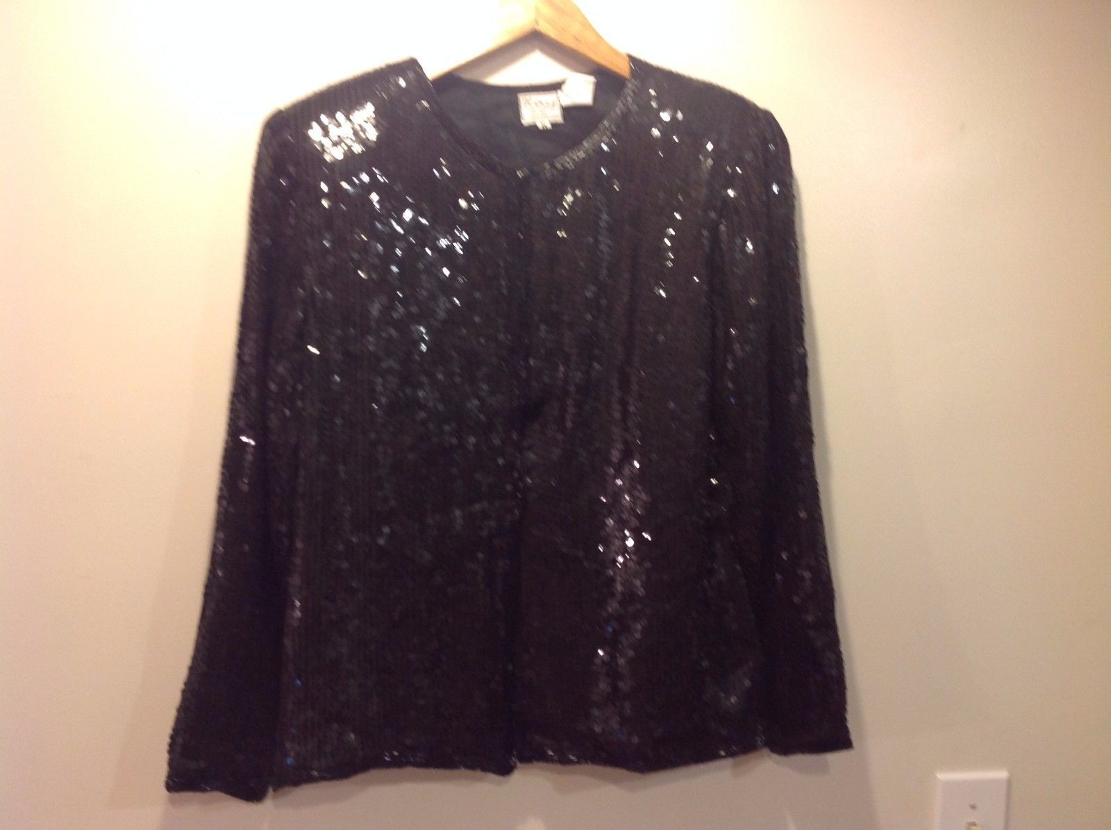 Black Vintage Quality Silk Jacket Sparkles Glitzy Women