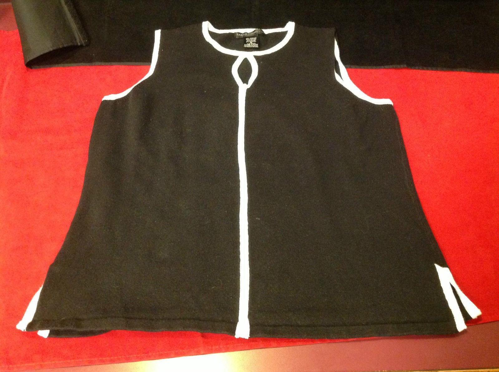 Black White Ladies Sleeveless Blouse Sarah Spencer Size Medium