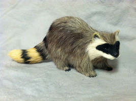 Black White Faced Raccoon Animal Figurine - recycled rabbit fur
