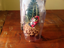 Black White Cat with Scarf Real Pine Cone Pet Pine Cone Christmas Ornament