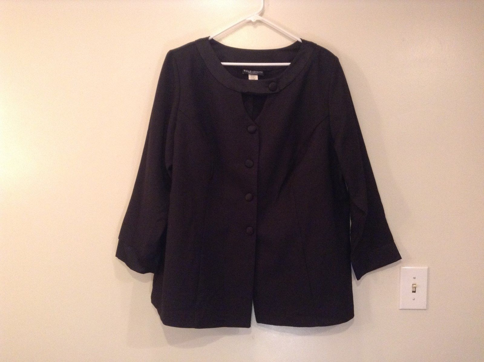 Black Wear Abouts Two Neck Lines Scoop and V Neck Blazer Size 24WP