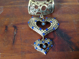 Beautiful Double Heart with Blue Crystals Gold Tone Scarf Pendant by Magic Scarf image 2