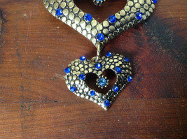 Beautiful Double Heart with Blue Crystals Gold Tone Scarf Pendant by Magic Scarf image 3