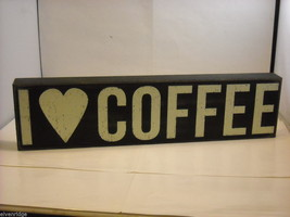 "Black Wooden Box Sign ""I [Heart] Love Coffee"" Saying"