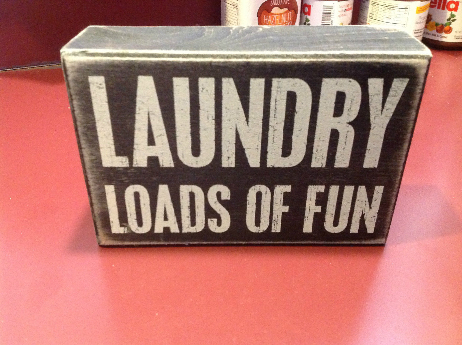 Black Wooden Box Sign with LAUNDRY LOADS OF FUN in White Letters