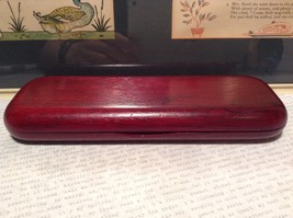 Beautiful Wooden Red Rosewood Pen with Stained Wood Red Case Golden Accents image 2