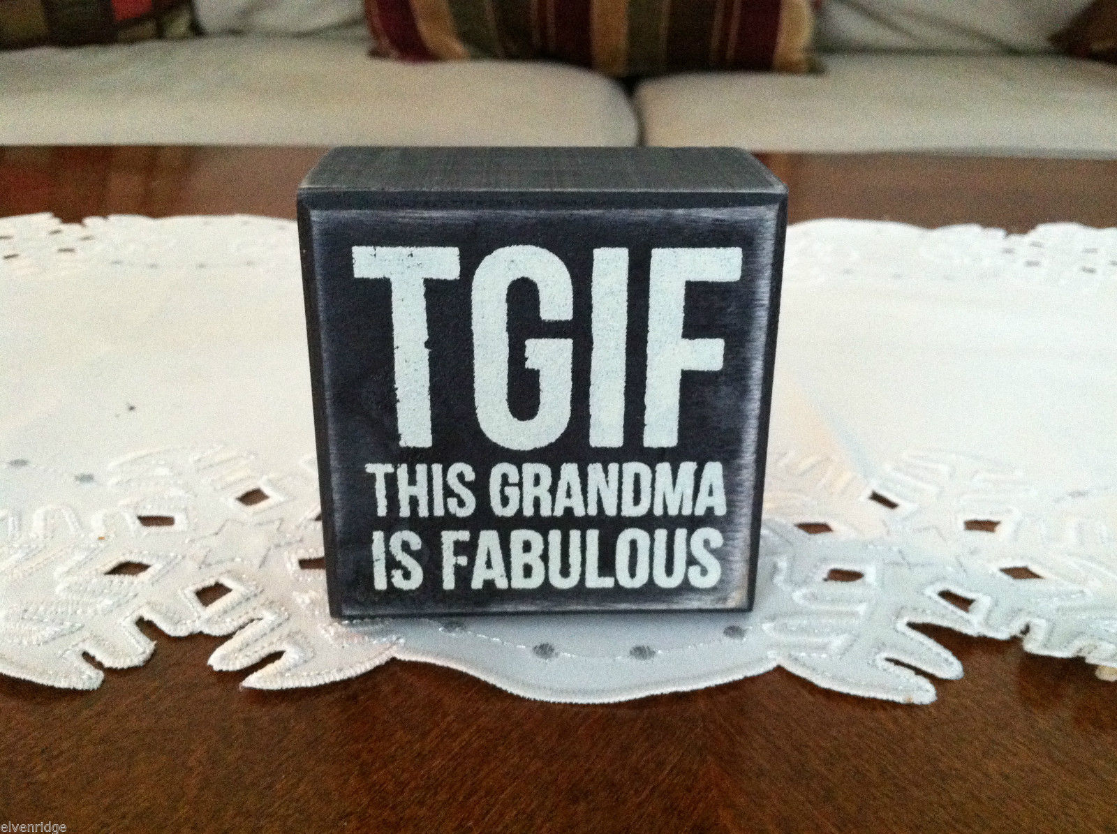 Black Wooden Box Sign TGIF This Grandma is Fabulous