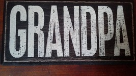 Black Wooden Magnet Tile Sign with the Word GRANDPA in White Letters