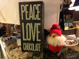 Black Wooden Box Sign Peace Love Chocolate Hinged Box with lid