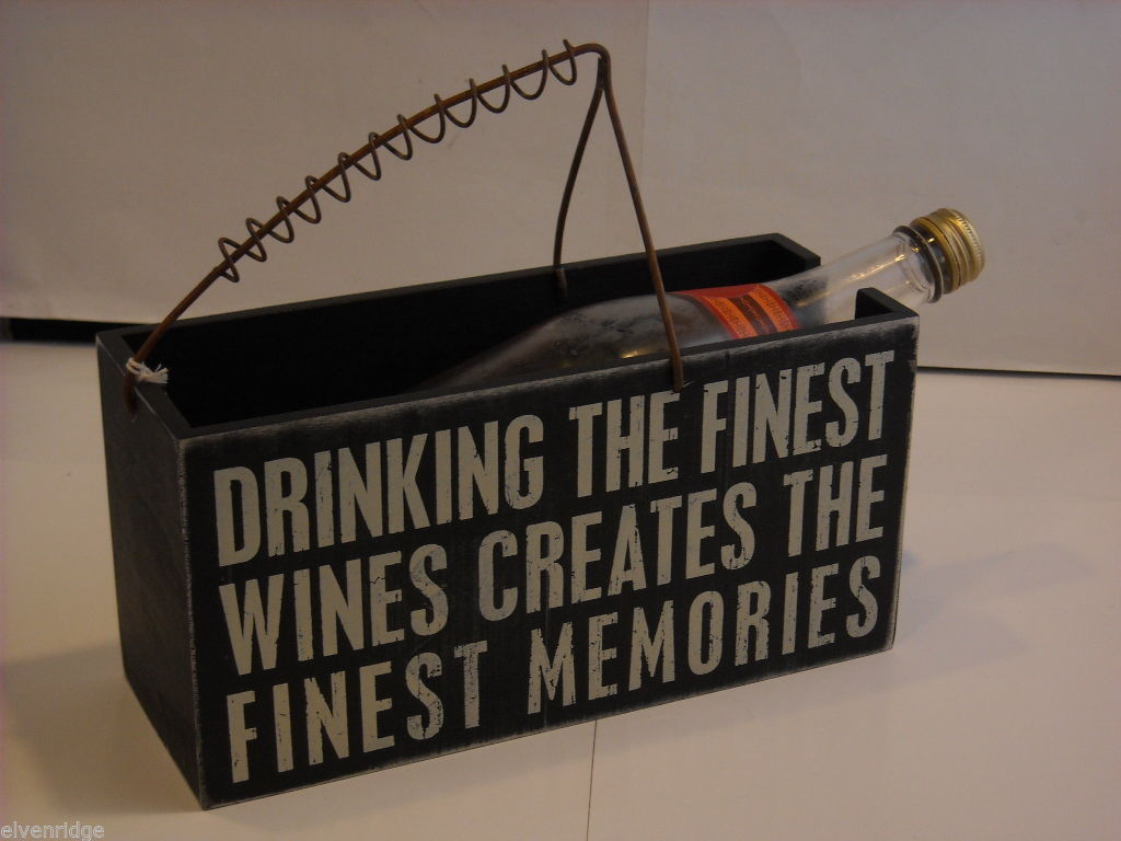 "Black Wooden Box Wine Caddy ""Drinking the Finest Wines Creates..."" Saying"
