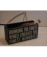 """Black Wooden Box Wine Caddy """"Drinking the Finest Wines Creates..."""" Saying - $34.64"""