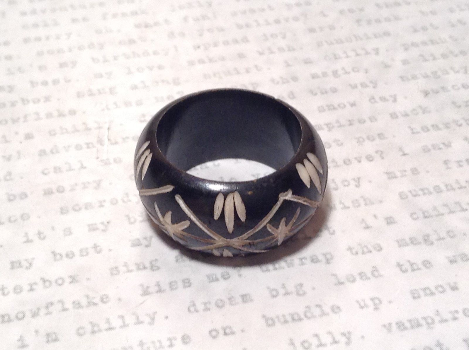 Black Wooden Hand Carved Ring with Cross Pattern Sizes 5, 6.5 OR 10
