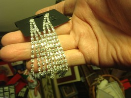 Beautiful silver plated and loads of rhinestones 4 inch drop earrings sparkly image 2